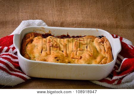 Home Made Rustic Style Steak Meat Pie
