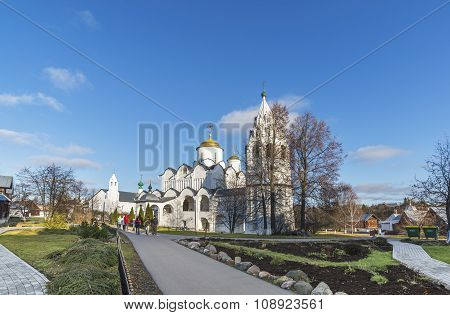 Suzdal, Russia -06.11.2015. St. Pokrovsky Monastery was built in  16th century. Golden Ring Travel
