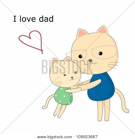 Greeting card for dad with cute animals