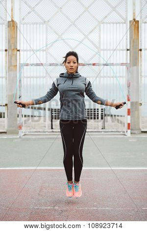 Fitness Urban Woman Jumping Rope