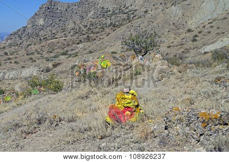 Mountain Slope With Self-made Altars Various Occult Deities.