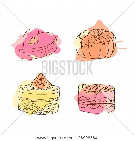 Vector Cake Illustration. Set Of Hand Drawn Cakes With Colorful Watercolor Splashes. Desserts With C