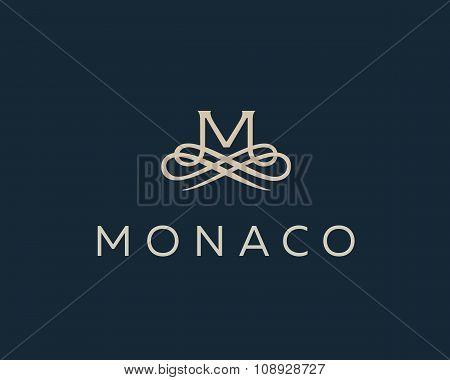Abstract monogram elegant flower logo. Premium letter M initials icon .