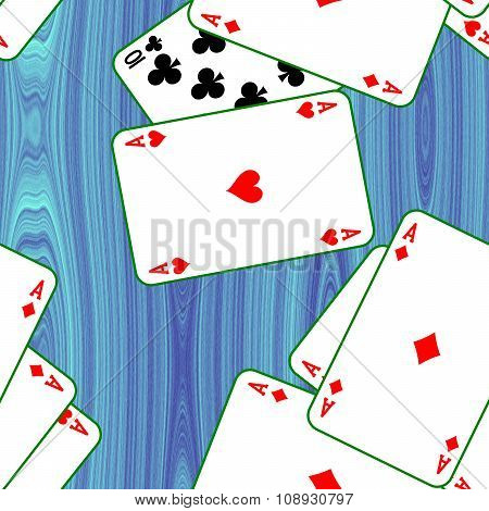 Cards scattered on a blue table. Seamless pattern texture background.