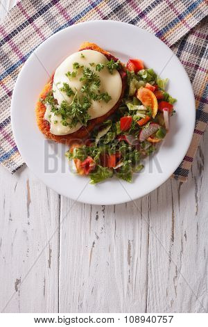 Italian Chicken Parmigiana And Salad. Vertical Top View