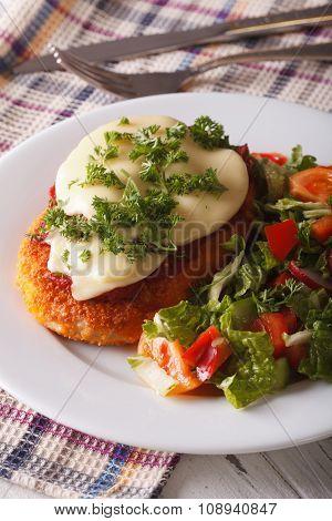 Chicken Parmigiana And Fresh Vegetable Salad Close-up. Vertical