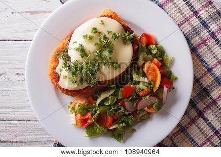 Italian Chicken Parmigiana And Salad Close Up. Horizontal Top View
