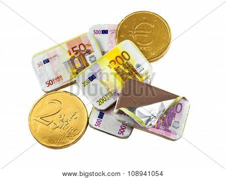 Coins And Banknotes Made Of Chocolate