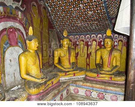 Inside Of Rock Temple In Dambulla, Sri Lanka.
