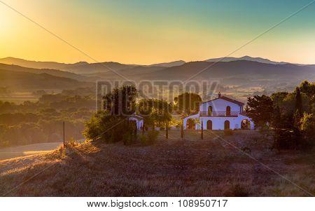Tuscan Villa in Italian Countryside in morning sun