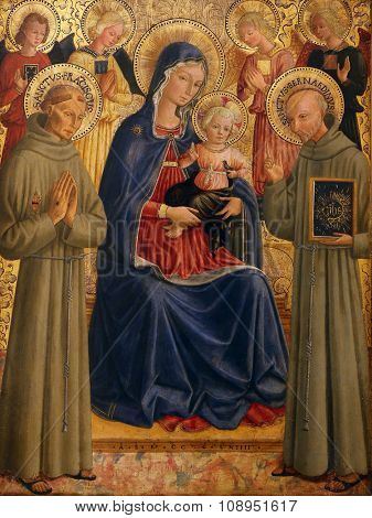 ZAGREB, CROATIA - DECEMBER 08: Bartolommeo Caporali: Madonna and Child with St. Francis and Bernardine, Old Masters Collection, Croatian Academy of Sciences, December 08, 2014 in Zagreb, Croatia