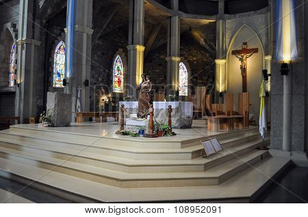 Inside Of Church Of Our Lady Of Nahuel Huapi. Cathedral In San Carlos De Bariloche