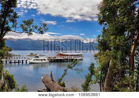 Tourists Boats At The Pier In Lake Nahuel Huapi