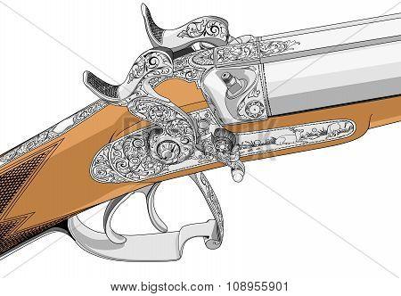 Rifle old fashioned classic style illustration