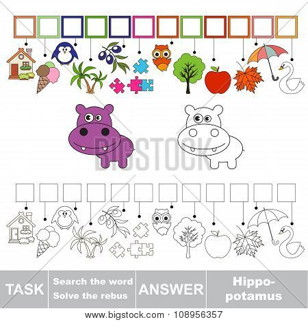 Vector game. Find hidden word hippo. Search the word.