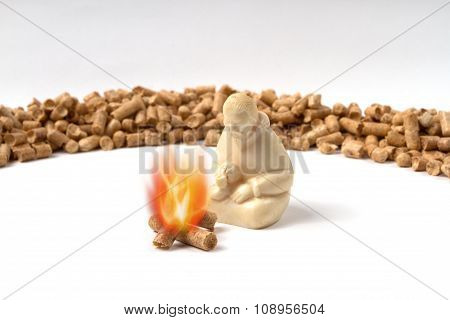 Burning Pellets Warm Human