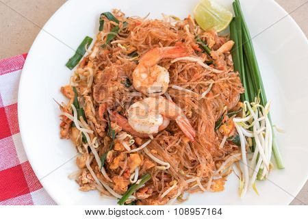 Close-up Thai Noodle Or Padthai, Thailand Traditional Food And Blur Background