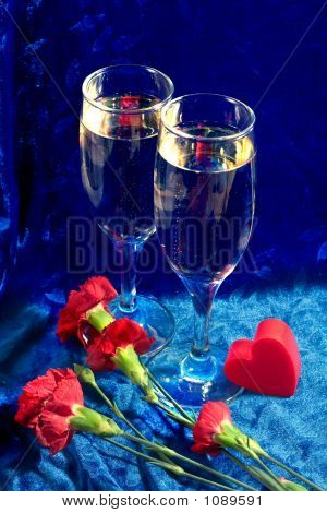 Champagne, Flowers And Heart