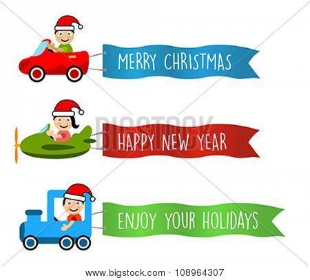 Cartoon kids with vehicle. Message Flag