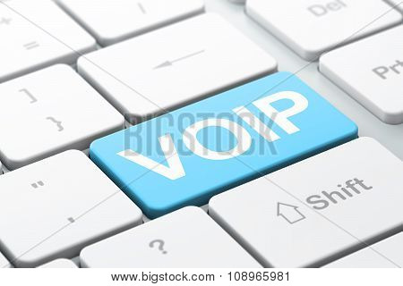 Web development concept: VOIP on computer keyboard background