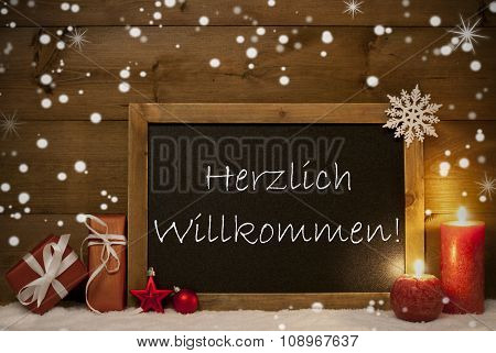 Christmas Card, Blackboard, Snowflakes,Willkommen Mean Welcome
