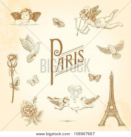 Set of vector vintage elements for design. Paris love romance.