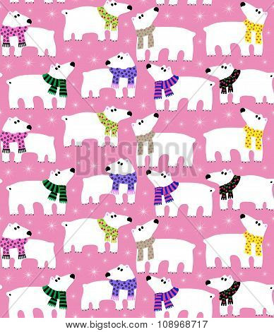 Polar bears on pink background
