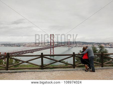 Couple enjoying view