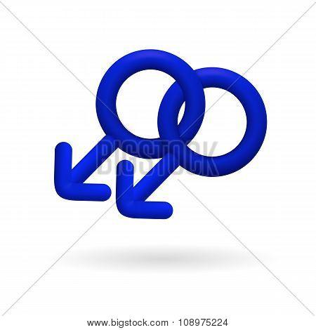 3D icon with homosexual gay symbol of men