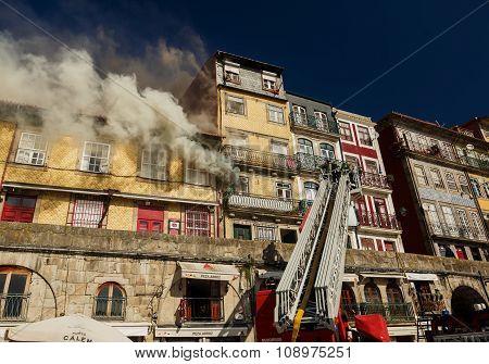 Firemen during work, Porto city