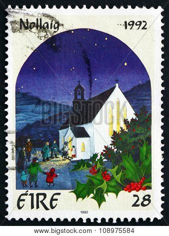 Postage Stamp Ireland 1992 Rural Churchyard, Christmas