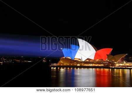Sydney Opera House Lit In Colours Of French Flag Red White Blue