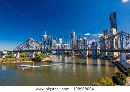 BRISBANE, AUS - MAY 12 2015: Ferry boat under Story Bridge in Brisbane, Queensland, Australia.