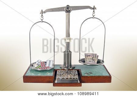 Old Style Pharmacy Scale With Drugs Heavier Than Money