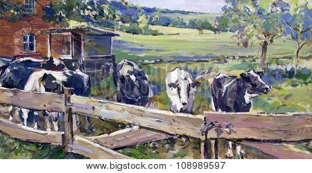 Landscape With Cows In Lower Saxony