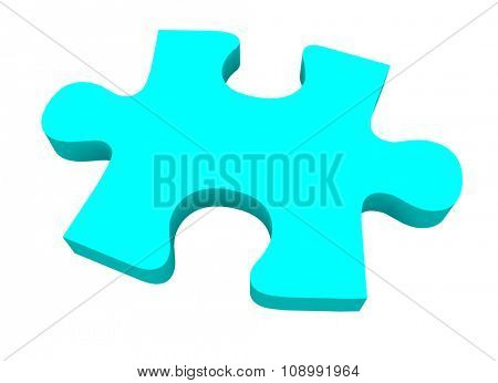 A final blue puzzle piece needed to finish or complete a picture or solve a problem poster
