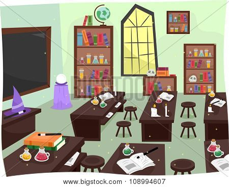 Illustration of a Whimsical Laboratory in a Wizardry School