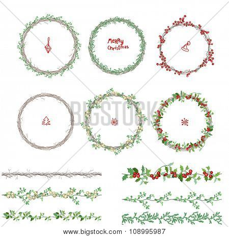 Round Christmas wreathes. Different plants and fir branches. Endless pattern brushes. For festive design, announcements, postcards, posters.