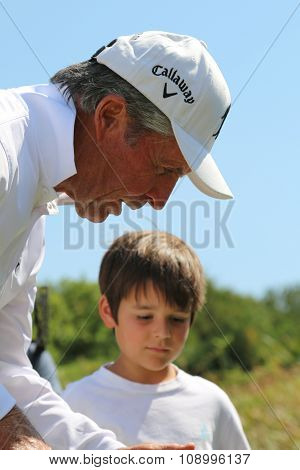 Tournament Presenter And Grand Master Gary Player With Grandson, Son Of Mark Player, After The Event