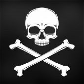 Human evil skull vector. Pirate insignia concept design. Jolly Roger with crossbones logo template. death t-shirt concept. Poison icon illustration. poster