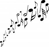 a series of musical notes dancing across a white background. poster