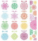 Snowflakes decor, borders, dividers, pattern banner.Christmas, New year winter isolated decor elements.Colored Vector Christmas, winter illustration.Holiday mandala, background poster