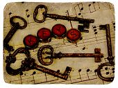 various vintage keys with aged photo look. poster