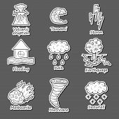 Set of cartoon hand drawn objects on natural disaster theme poster