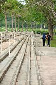 PUTRAJAYA, MALAYSIA - NOVEMBER 01, 2015: Unsheltered staircase and steps in the public park in Malaysia on November 01, 2015. poster