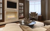 Living room avant-garde style. Luxury fireplace. 3d images poster