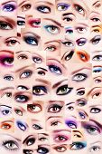 Background of plenty beautiful women's eyes with trendy colorful make-up. Winged eyes, smoky eyes, false eyelashes. Collage. poster