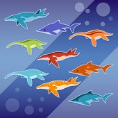 Vector image of a Set of water jurassic reptiles poster