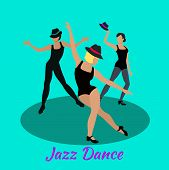 Jazz dance concept flat design. Modern class, music and art, body dancer, dress and entertainment, event fashion, lifestyle motion, musical party, people performance show illustration poster