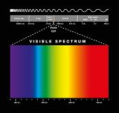 Electromagnetic spectrum of all possible frequencies of electromagnetic radiation with the colors of the visible spectrum. Isolated illustration on black background. poster